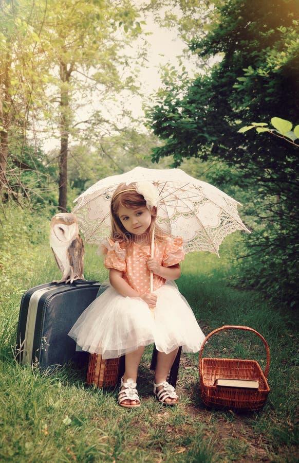 Bella ragazza della natura con il gufo dell'animale domestico in legno immagine stock