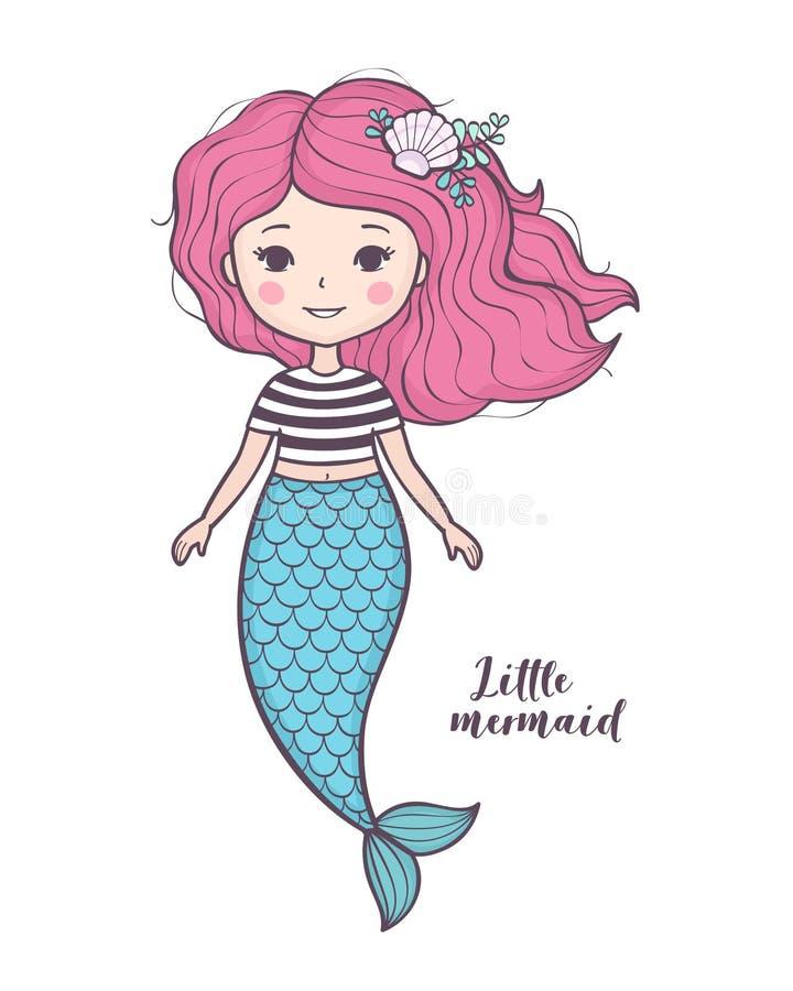 Bella ragazza della sirena del fumetto con capelli rosa royalty illustrazione gratis