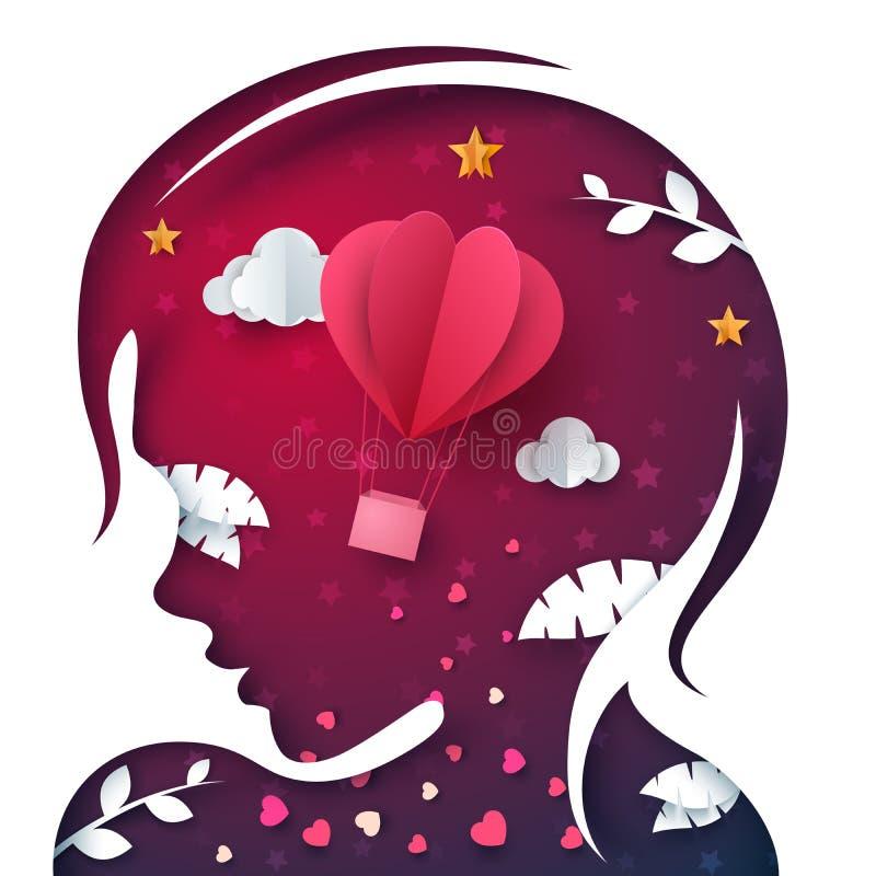 Bella ragazza della testa della carta Illustrazione dell'aerostato royalty illustrazione gratis
