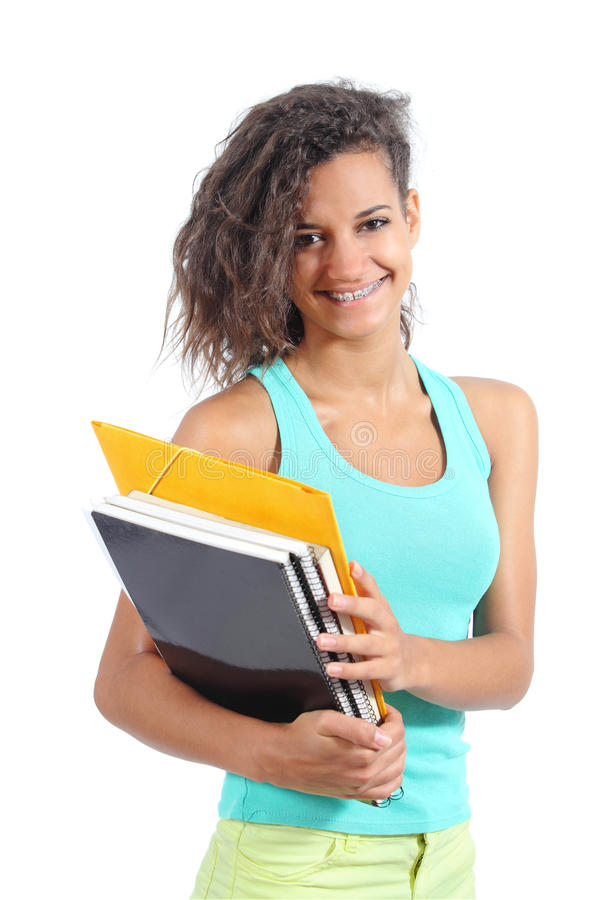 Bella ragazza dello studente che posa esaminando macchina fotografica immagini stock