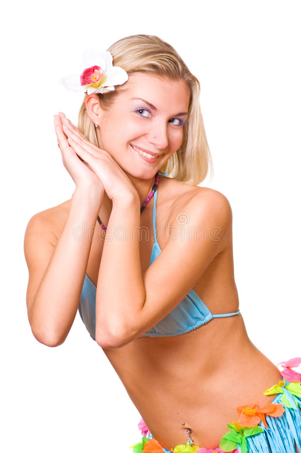 Bella ragazza di dancing con un fiore in suoi capelli immagini stock