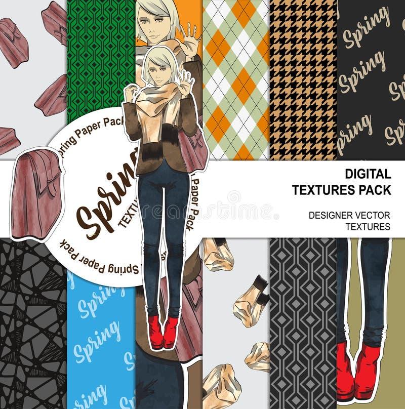 Bella ragazza di modo con una borsa e sciarpa su un fondo illustrazione vettoriale