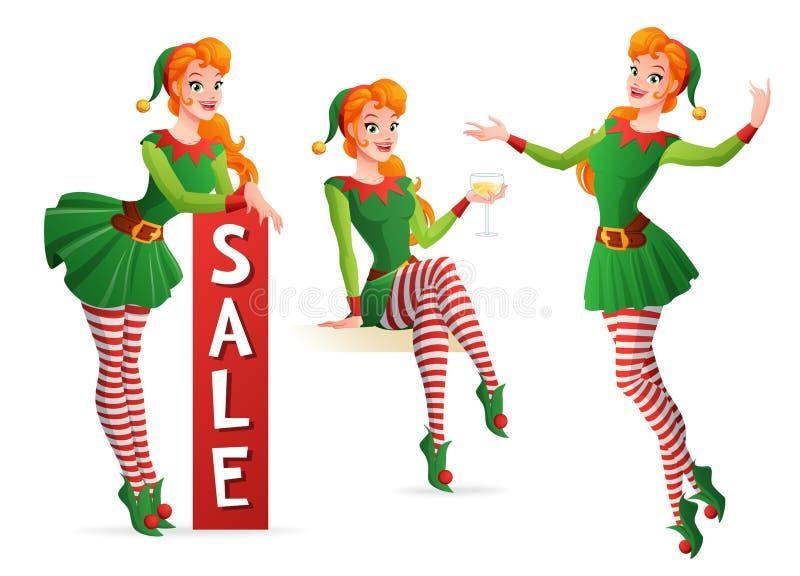 Bella ragazza di vettore in costume dell'elfo di Natale nelle pose differenti illustrazione vettoriale