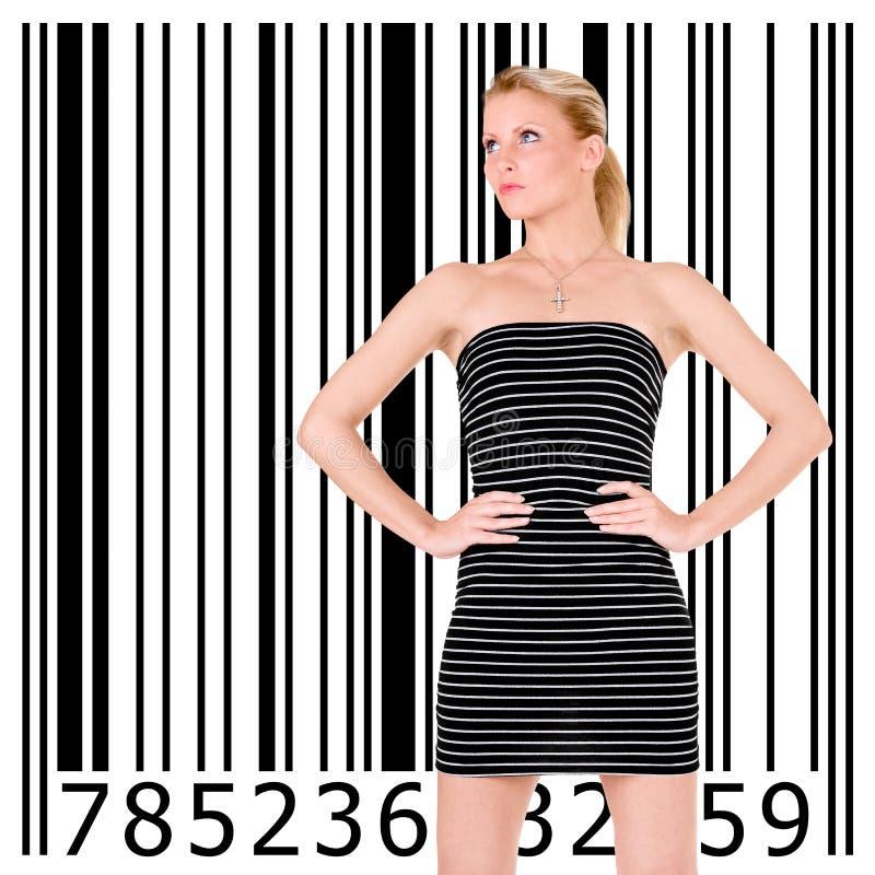 Bella ragazza e codice a barre fotografia stock libera da diritti