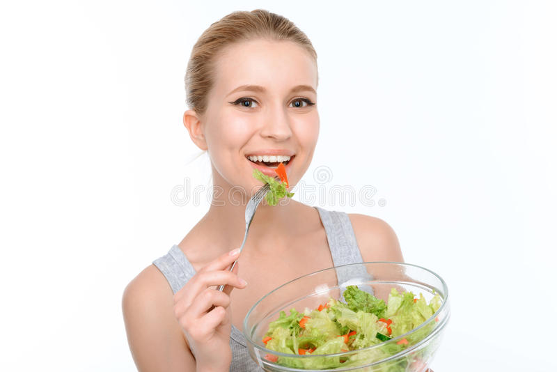 Download Bella ragazza e dieta sana immagine stock. Immagine di femmina - 55352051