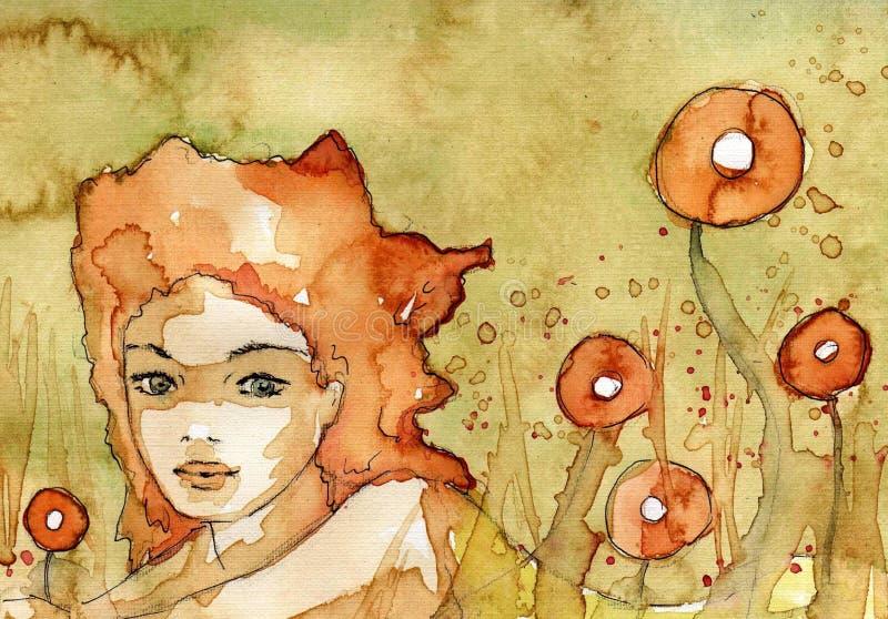 bella ragazza in erba royalty illustrazione gratis