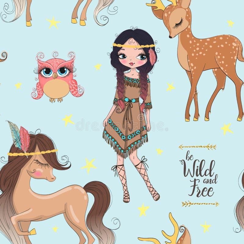 Bella ragazza indiana tribale sveglia disegnata a mano con poco cavallo illustrazione di stock