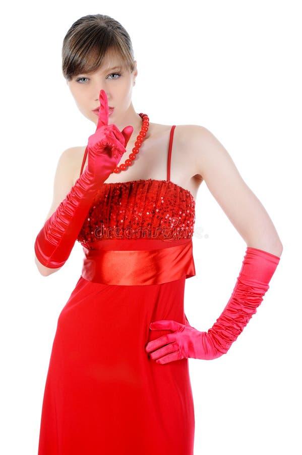 Bella ragazza nel colore rosso. immagine stock libera da diritti