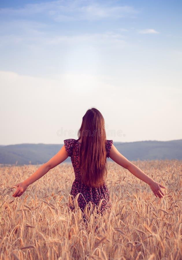 Bella ragazza nel giacimento di grano al tramonto fotografie stock libere da diritti