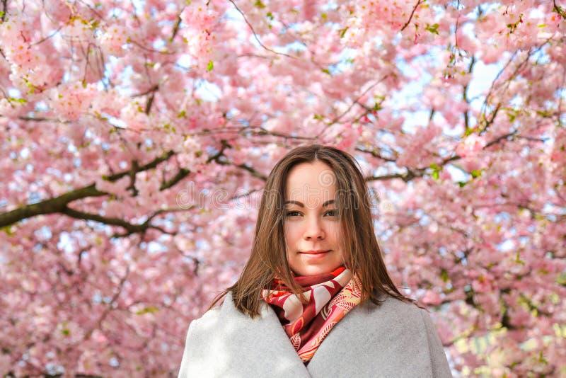 Bella ragazza nel giardino di fioritura della ciliegia fotografia stock