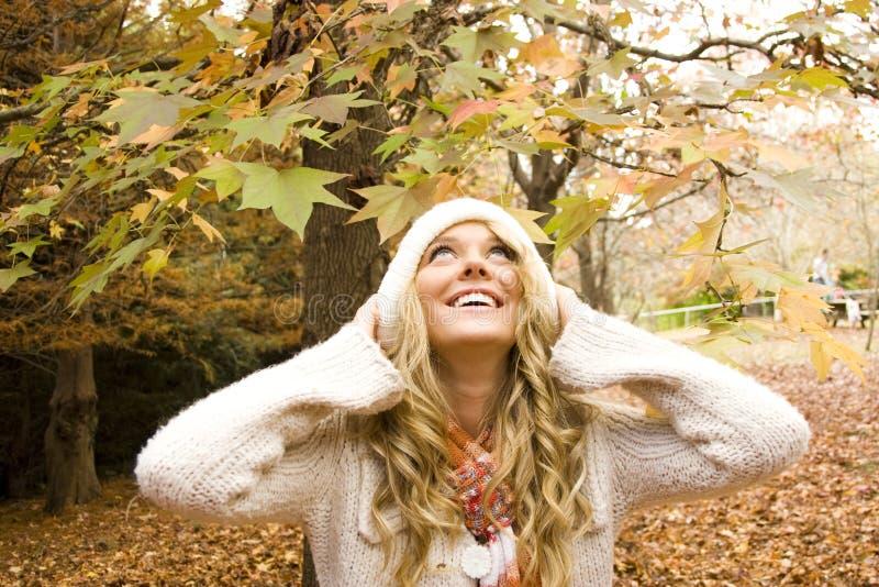 Bella ragazza nella caduta di autunno immagini stock libere da diritti