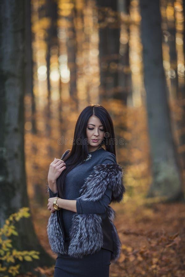 Bella ragazza nella foresta fotografia stock