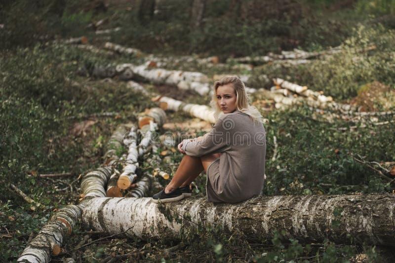 Bella ragazza nella foresta abbattuta fotografie stock