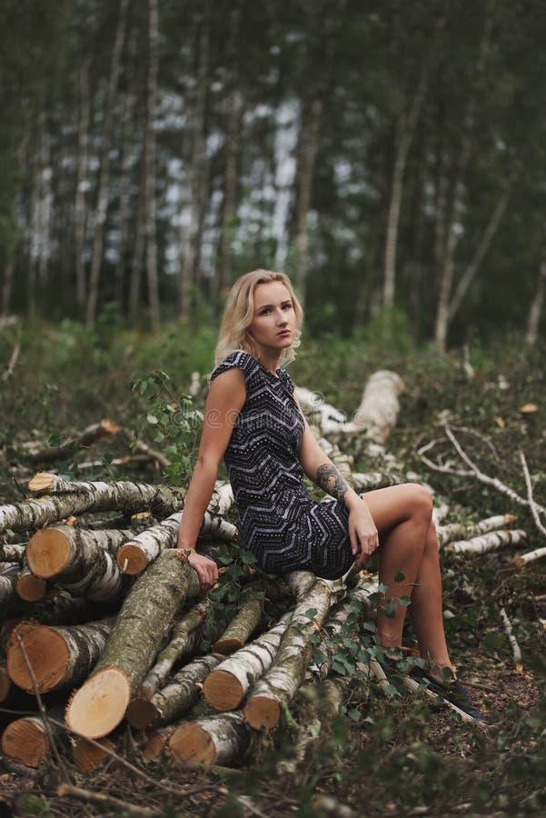 Bella ragazza nella foresta abbattuta immagine stock