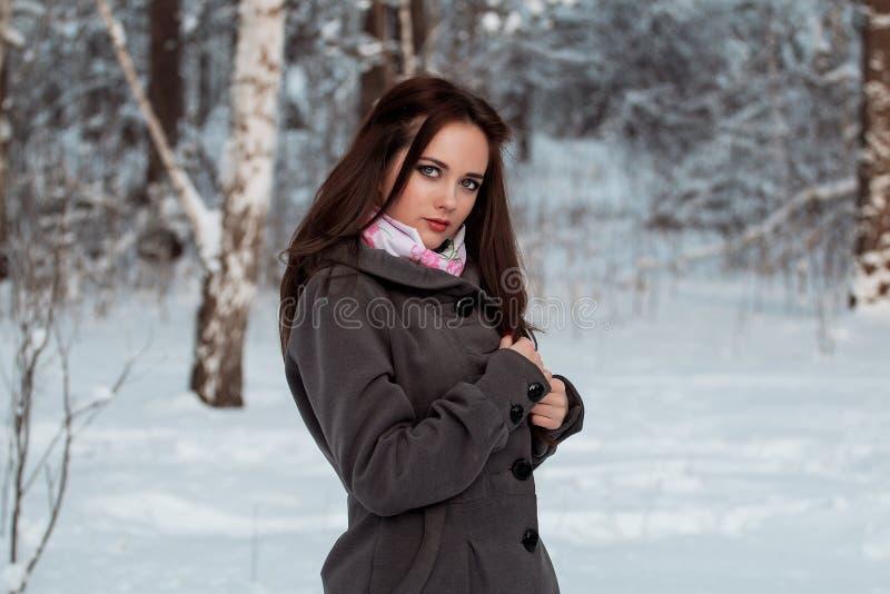 Bella ragazza nella foresta di inverno immagini stock libere da diritti