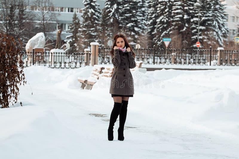 Bella ragazza nella foresta di inverno immagini stock