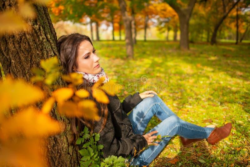 Bella ragazza romantica con pelle perfetta e carnagione, in un paesaggio di autunno del parco, sedentesi e pendente contro immagini stock
