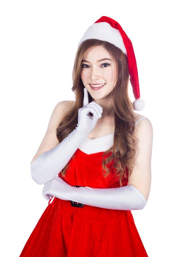Bella ragazza sexy che indossa i vestiti del Babbo Natale isolati su briciolo immagini stock libere da diritti