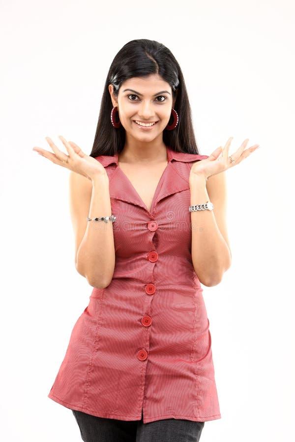 Bella ragazza sottile con le azioni piacevoli delle mani immagini stock libere da diritti