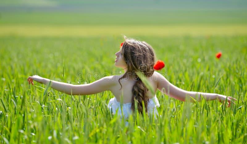 Bella ragazza sul campo di fioritura del papavero immagini stock