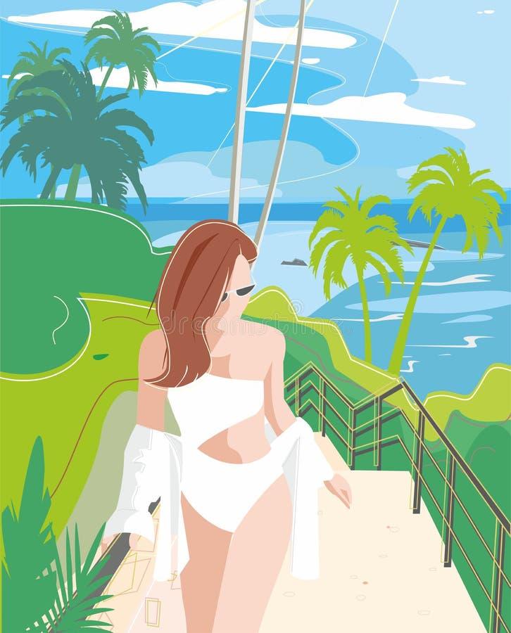 Bella ragazza sulla spiaggia #6 illustrazione di stock