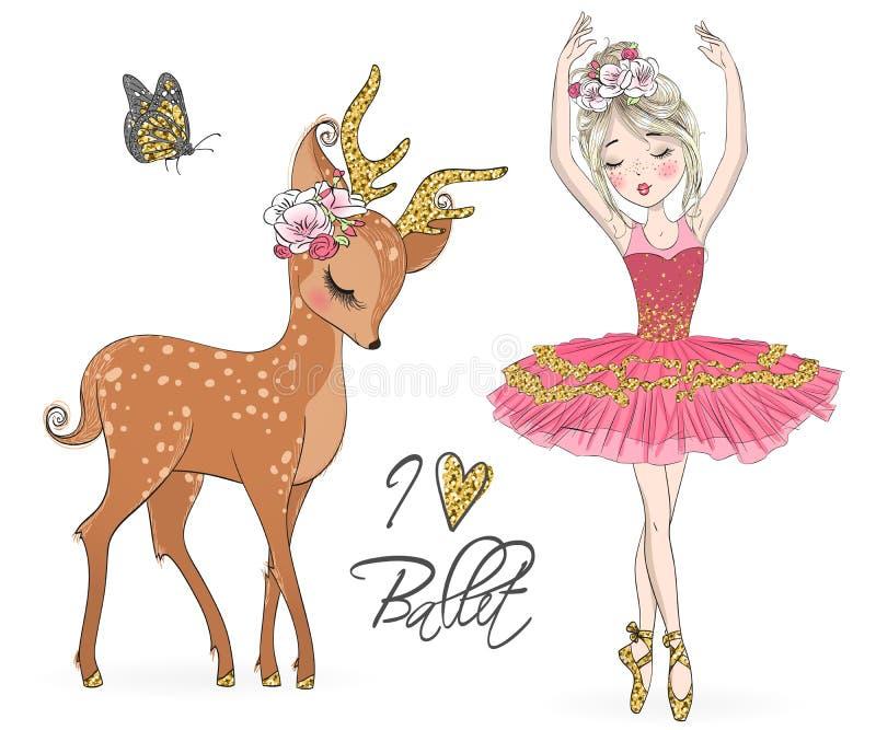 Bella ragazza sveglia disegnata a mano della ballerina con i piccoli cervi illustrazione di stock