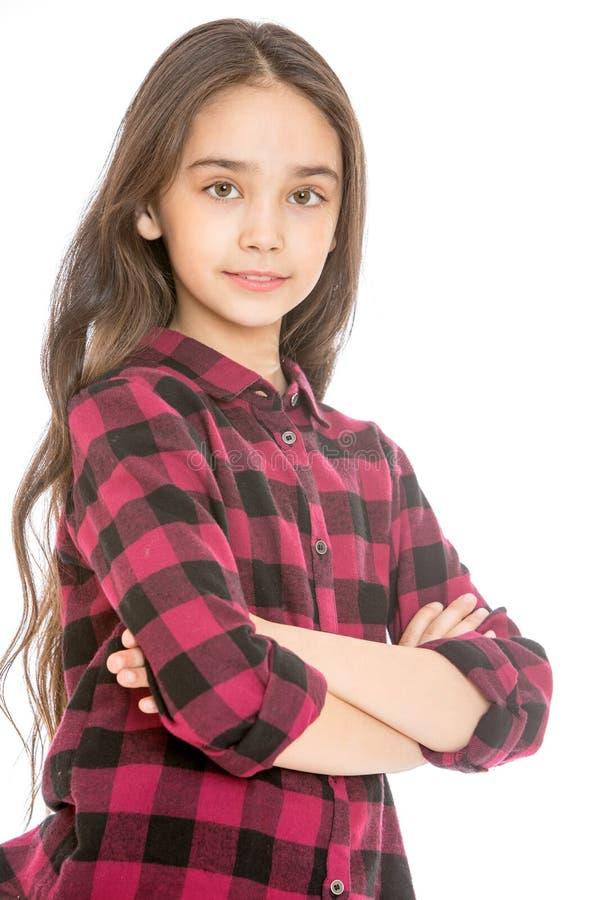 Bella ragazza teenager in una camicia di plaid, primo piano immagine stock libera da diritti
