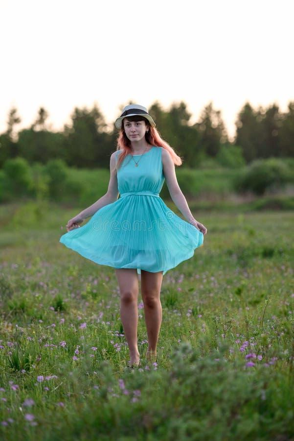 Bella ragazza in un campo con i fiori immagine stock libera da diritti