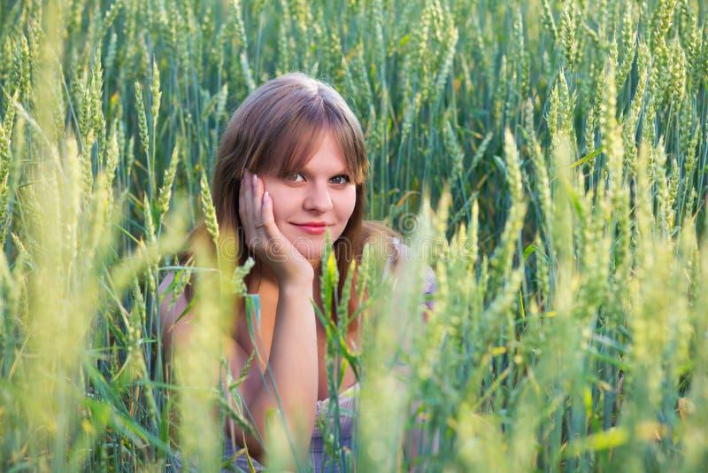 Bella ragazza in un campo di frumento fotografia stock
