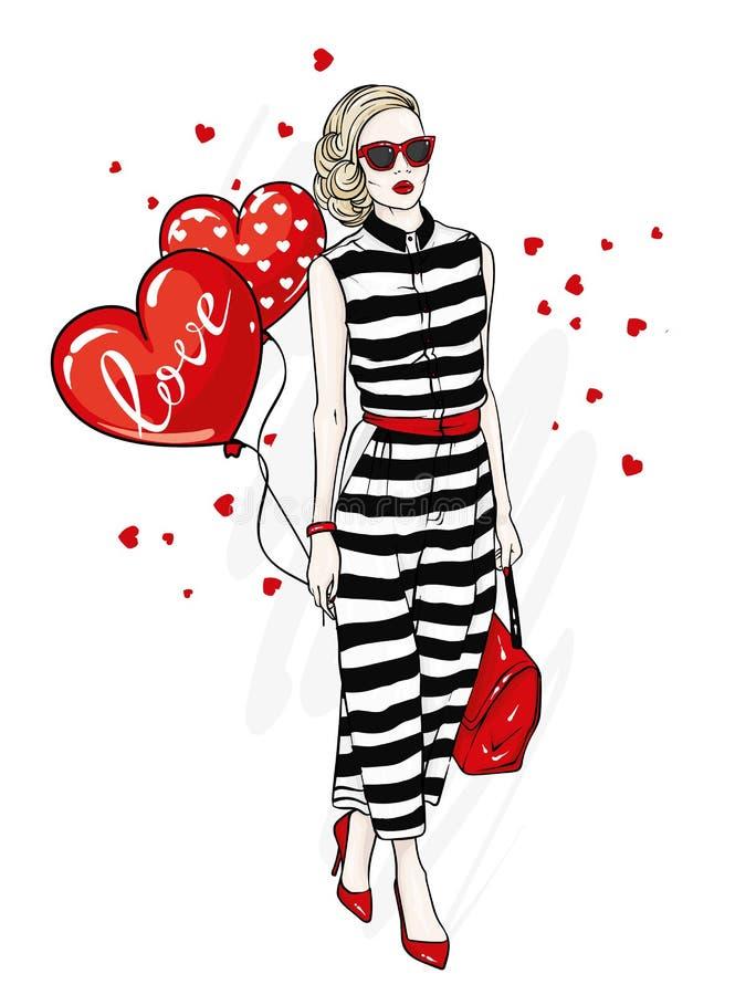 Bella ragazza in un vestito alla moda, scarpe, vetri e con una borsa Vestiti alla moda ed accessori Modo & stile illustrazione di stock