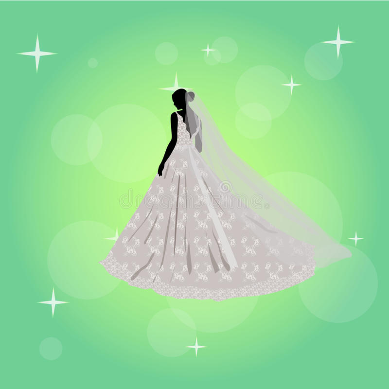 Bella ragazza in un vestito da sposa illustrazione di stock