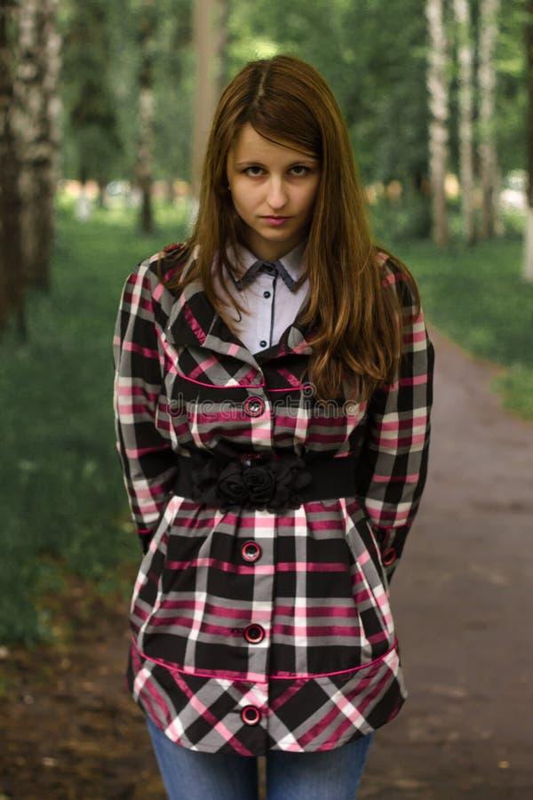 Bella ragazza in una foresta antica fotografia stock