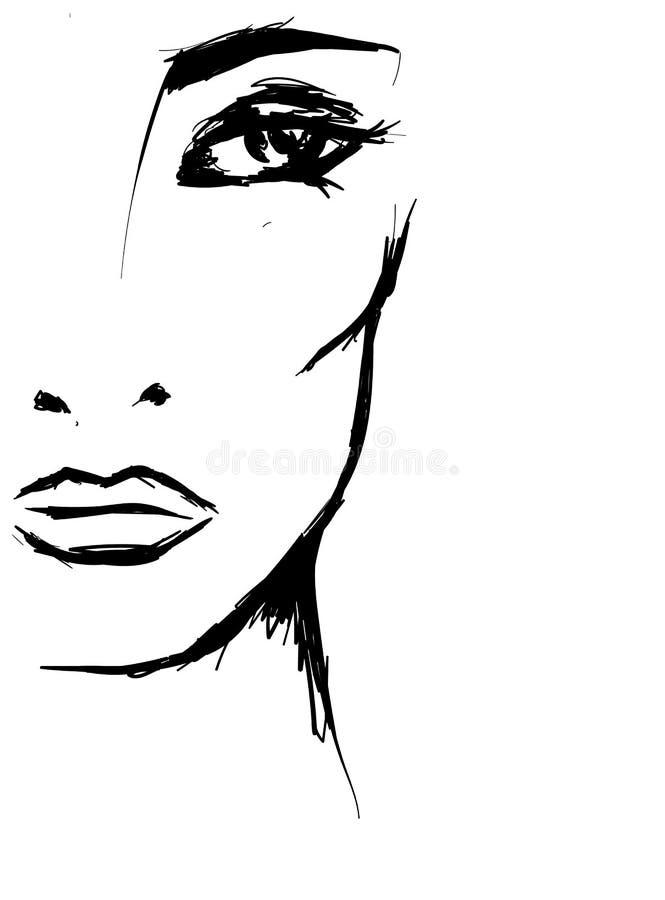 Bella ragazza Vector l'illustrazione per una cartolina o un manifesto, stampa per i vestiti illustrazione di stock