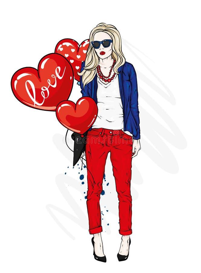 Bella ragazza in vestiti alla moda Una donna alla moda con capelli lunghi in pantaloni, rivestimento e vetri royalty illustrazione gratis