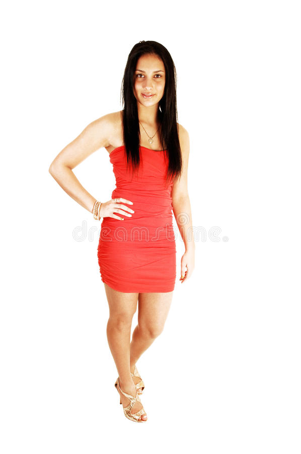 Bella ragazza in vestito rosso. fotografia stock libera da diritti