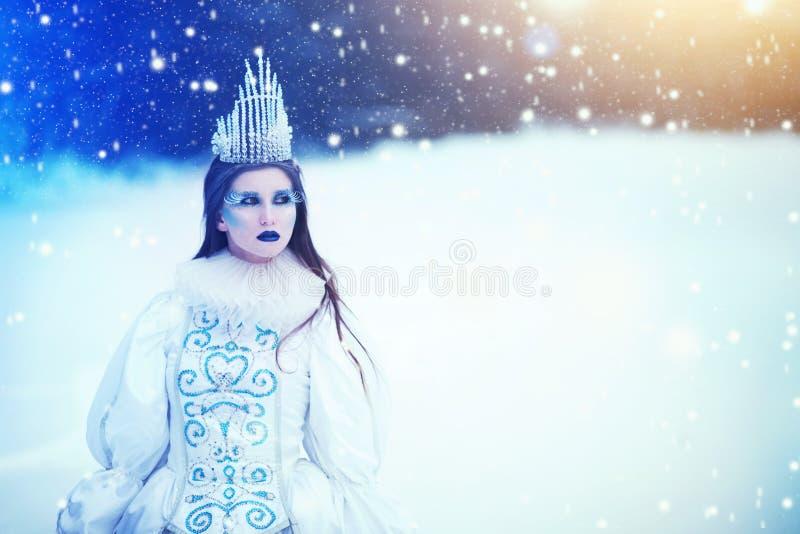 Bella regina del ghiaccio nel paese delle meraviglie di inverno immagine stock