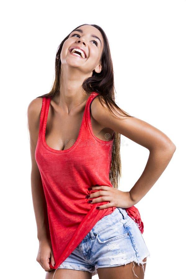 Bella risata della donna fotografia stock libera da diritti