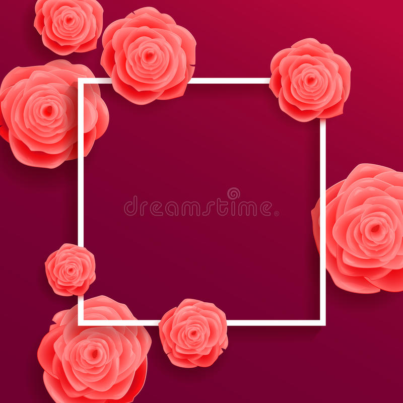 Bella Rose Flowers di fioritura su fondo porpora Cartolina d'auguri quadrata royalty illustrazione gratis