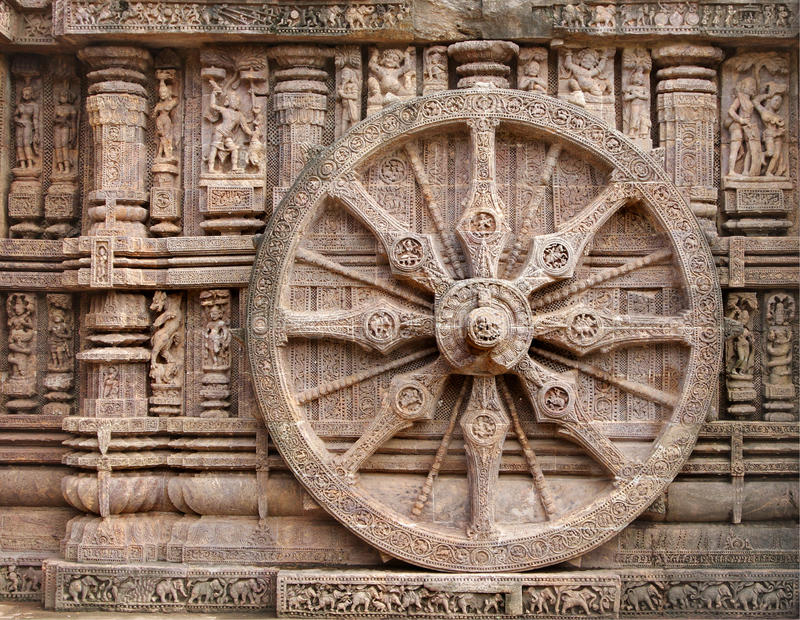 Bella rotella del vagone per il trasporto dei lingotti, tempiale di Konark Sun, Orissa fotografia stock libera da diritti
