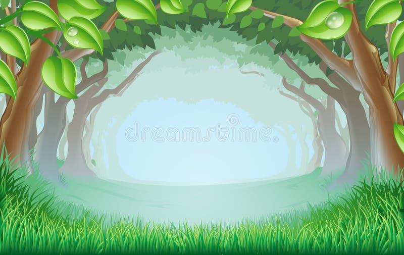 Bella scena del terreno boscoso illustrazione di stock