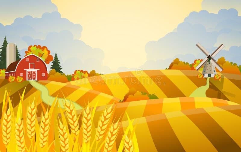 Bella scena dell'azienda agricola di caduta del fumetto illustrazione di stock