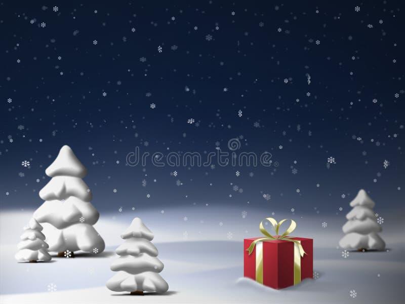 Bella scena di notte di inverno con gli alberi attillati, il contenitore di regalo rosso e la neve di caduta illustrazione vettoriale