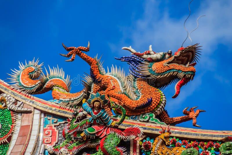Bella scultura cinese del drago sul tetto a Lungshan Templ immagini stock libere da diritti