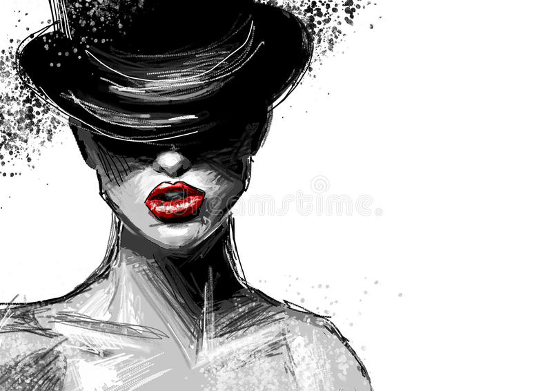 Bella signora alla moda in bianco e nero in un cappello immagine stock