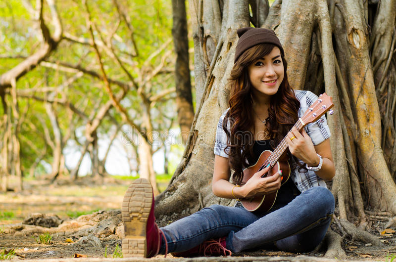 Musicista di signora fotografie stock