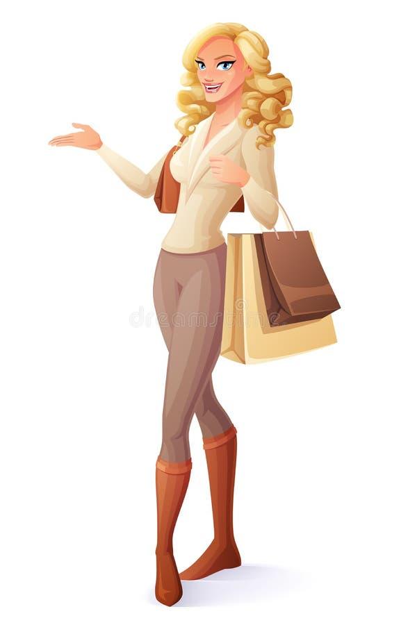 Bella signora che sta con i sacchetti della spesa e la presentazione Illustrazione di vettore royalty illustrazione gratis