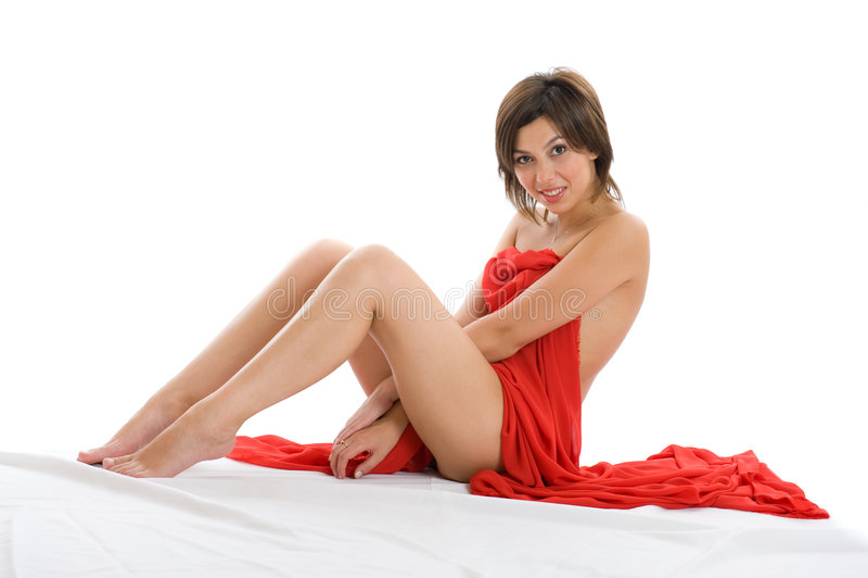 Bella signora con il panno rosso fotografia stock