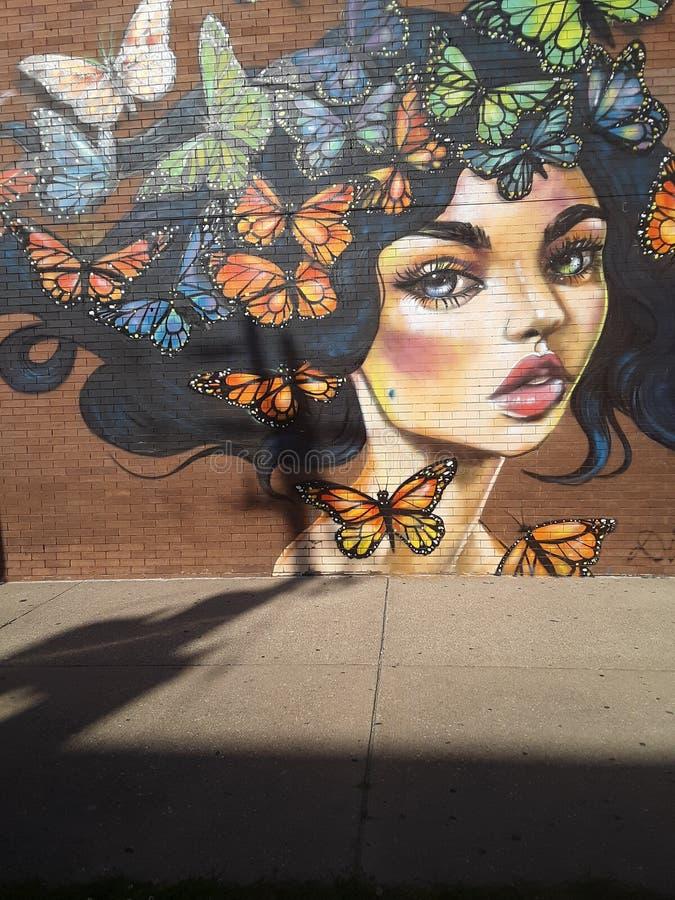 Bella signora della farfalla fotografie stock libere da diritti