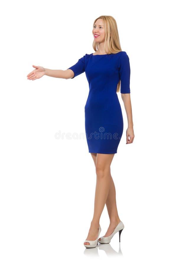 Bella signora in vestito blu scuro isolato sopra immagini stock