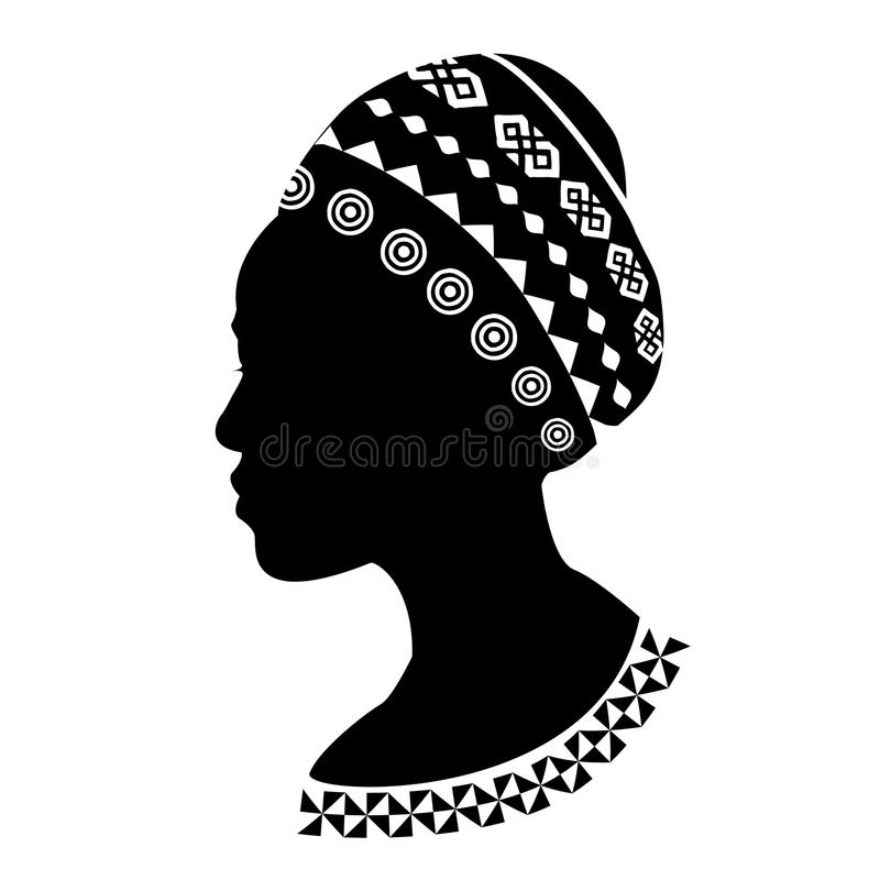 Bella siluetta africana di showders della donna di colore fotografia stock